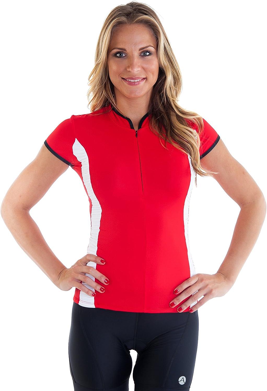 Alii Lifestyle Women's Antoinetta  Cap Sleeve Mandarin Collar Bike Jersey