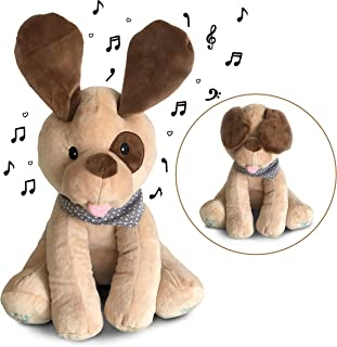 Plush singing and playing interactive stuffed puppy dog for babies, toddlers, infants - Peek A Boo animal soft musical toy with flappy ears sings and plays games - Adorable gift for boys and girls.