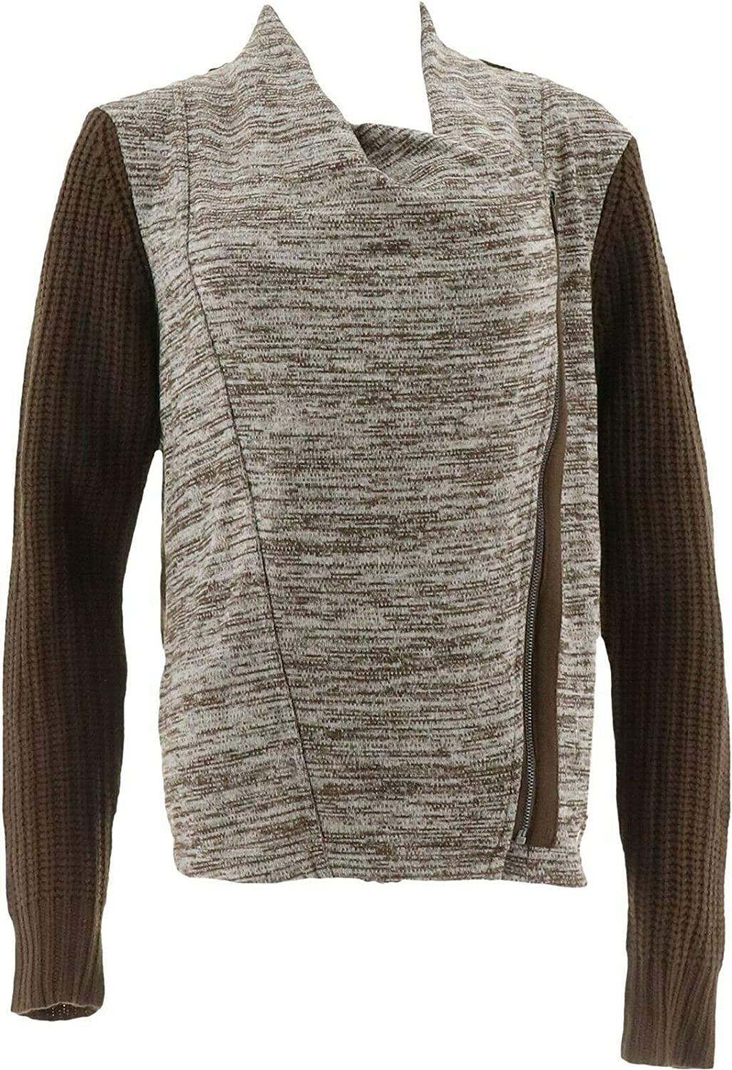 Lisa Rinna Collection Zip Front Sweater Knit Cardigan A267486