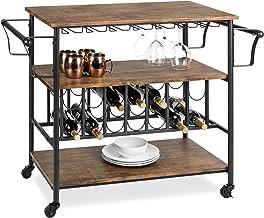 Best Choice Products 45in Industrial Wood Shelf Bar & Wine Storage Service Cart Trolley w/ 14 Bottle & 18 Glass Racks, Loc...
