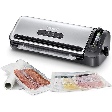 FoodSaver Machine Sous Vide avec compartiment de rangement pour rouleau et cutter, fonction marinade, inclus sacs de mise sous vide assortis et adaptateur intégré [FFS017X ]