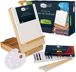 Artina Kit peinture acrylique complet Florenz - 28 pieces dans coffret en bois - Chevalet de table, peinture acrylique, to...