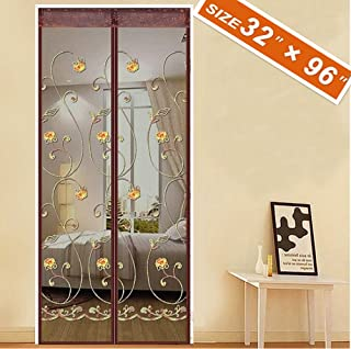"Spritech [Embroider Flower Style] Magnet Screen Door,Fiber Screen 32 X 96 Fit Doors Size Up to 30""W X 95""H Max with Full Frame Magic Screen Mosquito Mesh Keep Fly Bug Out"