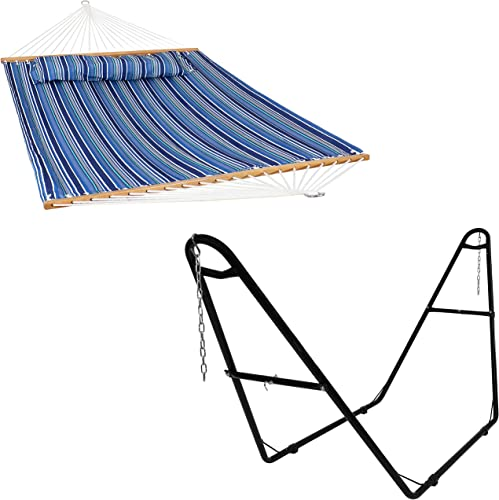 lowest Sunnydaze 2-Person 450 new arrival lb Weight Capacity Quilted Breakwater Stripe Spreader Bar Hammock and Pillow with S Hooks discount and Black 2-Person 550-Pound Capacity Universal Steel Hammock Stand Bundle sale