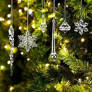 LOVEXIU Decoración De áRbol De Navida 68 Piezas, Carámbano De Navidad Decoración De Carámbano De Acrílico,Colgante De Copo...