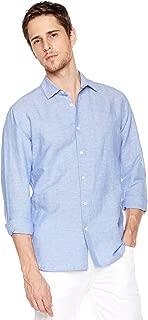 Men's Linen Cotton Blend Long Sleeve Woven Casual Shirt
