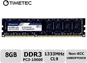 Timetec Hynix IC 8GB DDR3 1333MHz PC3-10600 Unbuffered Non-ECC 1.5V CL9 2Rx8 Dual Rank 240 Pin UDIMM Desktop Memory Ram Module Upgrade (8GB)