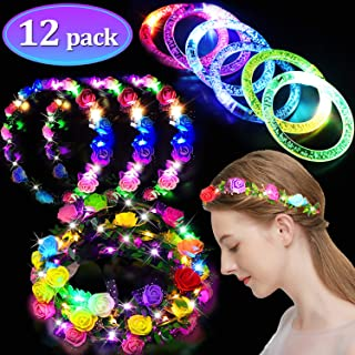 12 Pack Party Favors for Kids Adults, 6 LED Flower Headbands for Women 6 Glow Sticks Bracelet Halloween Glow in The Dark Party Supplies Led Flower Crowns Glow Party Accessories Light Up Toys Bulk