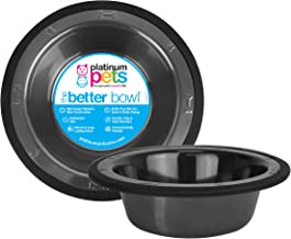 Platinum Pets SwitchIn Stainless Steel Wide Rimmed Dog/Cat Bowl 50 oz, Black Chrome