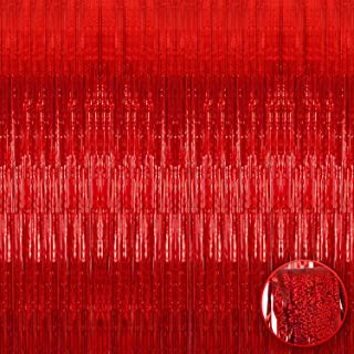 XtraLarge Iridescent Red Fringe Curtain - 3.2x10 feet | Pack of 1 | Metallic Red Backdrop for Red Party Decorations | Holo...