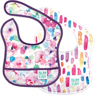 Bumkins Star Bib، Baby Bib Infant، ضد آب، قابل شستشو، سایز و بوی مقاوم، 3-9 ماه، 2 بسته - آبرنگ و Brushstrokes