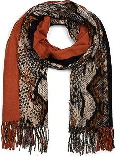 styleBREAKER Damen Schal mit Schlangen Muster und farbigem Streifen, lange Fransen, Winter, Stola 01017111