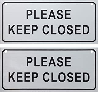 Please Close Signs - 2-Pack Please Keep Closed Gate Signs, Close Signs for Dog Gate, Business and Home Use, 2 Drilled Holes, Silver - 7.8 x 3.5 Inches