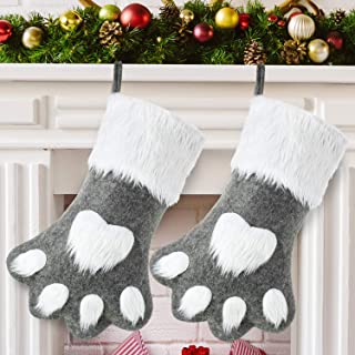 Syhood 2 Pieces Christmas Pet Stocking Dog Stocking Personalized Pet Stocking for Christmas Fireplace Tree Decorations (Gray Dog Paw)