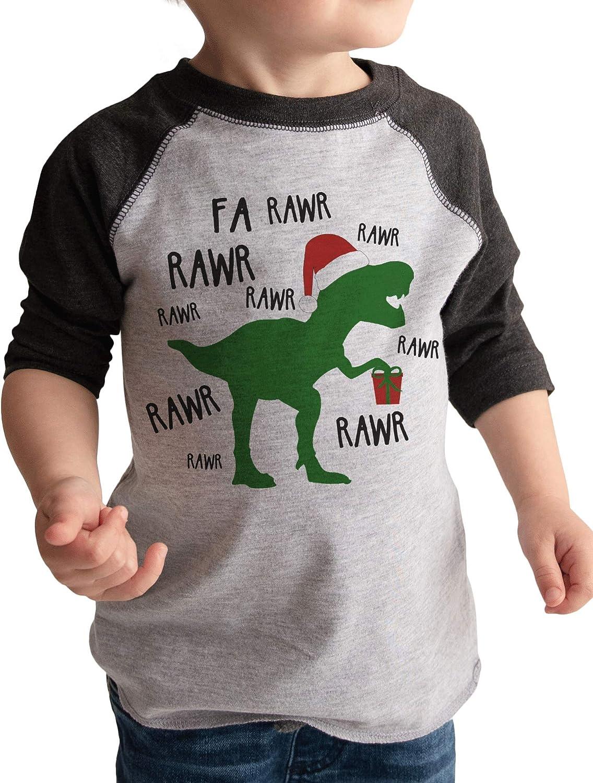 7 ate 9 Apparel Funny Kids Christmas Dinosaur Shirt Grey