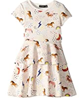 Rock Your Baby - Unicorn Rainbow Short Sleeve Tiered Waisted Dress (Toddler/Little Kids/Big Kids)