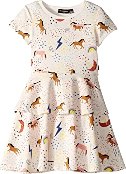 Unicorn Rainbow Short Sleeve Tiered Waisted Dress (Toddler/Little Kids/Big Kids)
