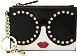Alice + Olivia - Evy Stace Face Pearl Zip Pouch with Key Charm