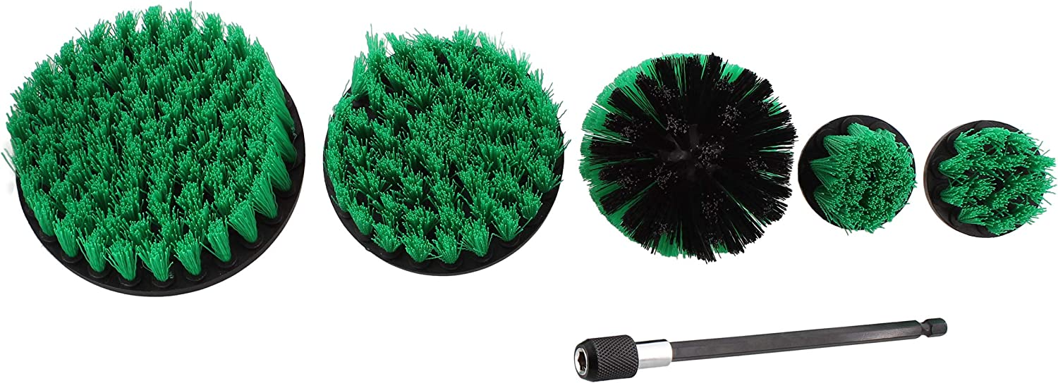 Green Medium Bristle ABN 1//4in Drive Nylon Scrubber Drill Attachment Cleaning Brush 5pc Set with 1pc Extension