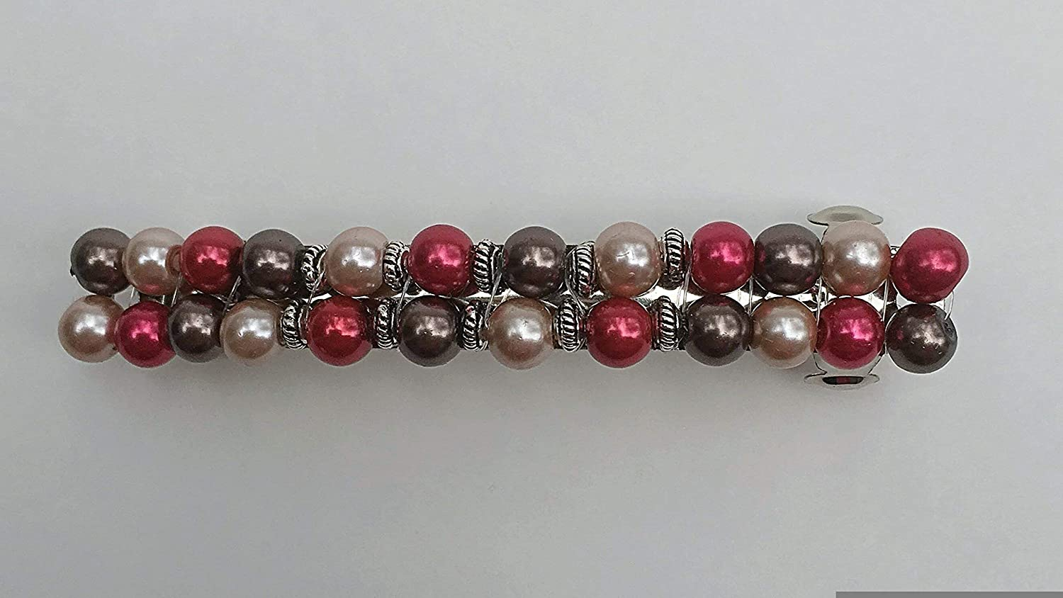 Brown Red Max 49% OFF Sandstone Barrette Pearl Mo Max 50% OFF Clip Clasp Beaded French