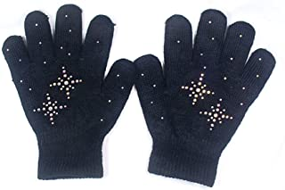 Fashion Every Day @Fedol Girls Ice Skating Gloves Magic Stretch with Rhinestones Snow Flakes (Black/AB Clear)