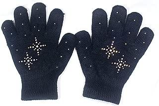 Fashion Every Day @Fedol Girls Ice Skating Gloves Magic Stretch with Rhinestones Snow Flakes (Black/AB Clear)