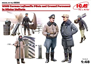 ICM 1/48 Scale World War II German Luftwaffe Pilots and Ground Personnel in Winter Uniform, 5 Figures - Plastic Figure Model Building Kit # 48086