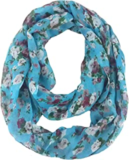 Lina & Lily Women's Floral Print Lightweight Spring Autumn Infinity Loop Scarf