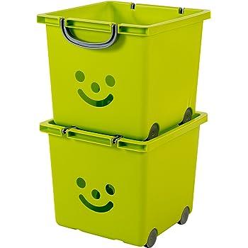 IRIS Ohyama 135602/KCB-32/Smiley Kids Set di 2/cubi portaoggetti su rotelle plastica Lagoon//Argento 33/x 32/x 35/cm