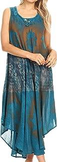 Laramie Sleeveless Stonewashed Ethnic Print Dress with Embroidery