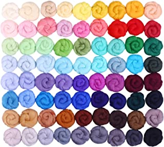 Fuyit Wool Roving 72 Colors Needle Felting Wool Fibre Hand Spinning DIY Craft Materials