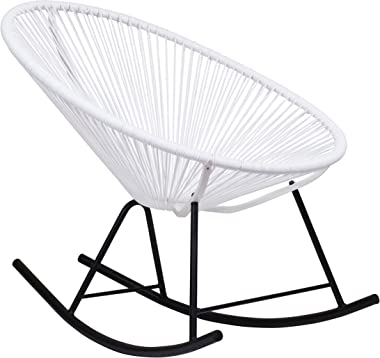 Design Tree Home Acapulco Sun Oval Weave Indoor Outdoor Patio All-Weather Rocker Rocking Chair, White