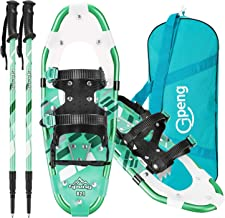 Gpeng 3-in-1 Lightweight Snowshoes Set for Women Youth Kids, Aluminum Terrain Snow Shoes with Trekking Poles and Carrying ...