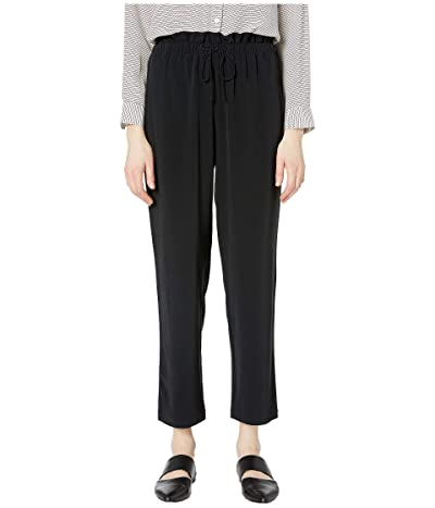 Eileen Fisher Ankle Length Straight Pants w/ Gathered Waist (Black) Women