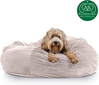 Furhaven Pet Dog Bed | Round Plush Faux Fur Refillable Ball Nest Cushion Pet Bed w/ Removable Cover for Dogs & Cats, Shell (Tan), Jumbo