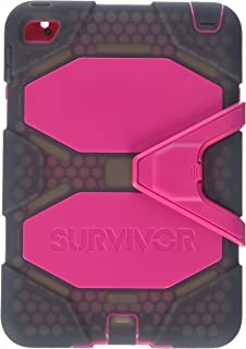 Griffin Survivor All-Terrain iPad Mini 4 Case with Stand - Impact-Resistant and Rugged Design, Pink/Smoke