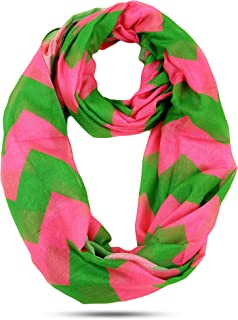 Oversized Lightweight Pink and Green Chevron Infinity Scarf