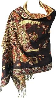 Women Soft Metallic Shiny Double Layer Reversible Luxurious Pashmina Shawl Wrap Scarf