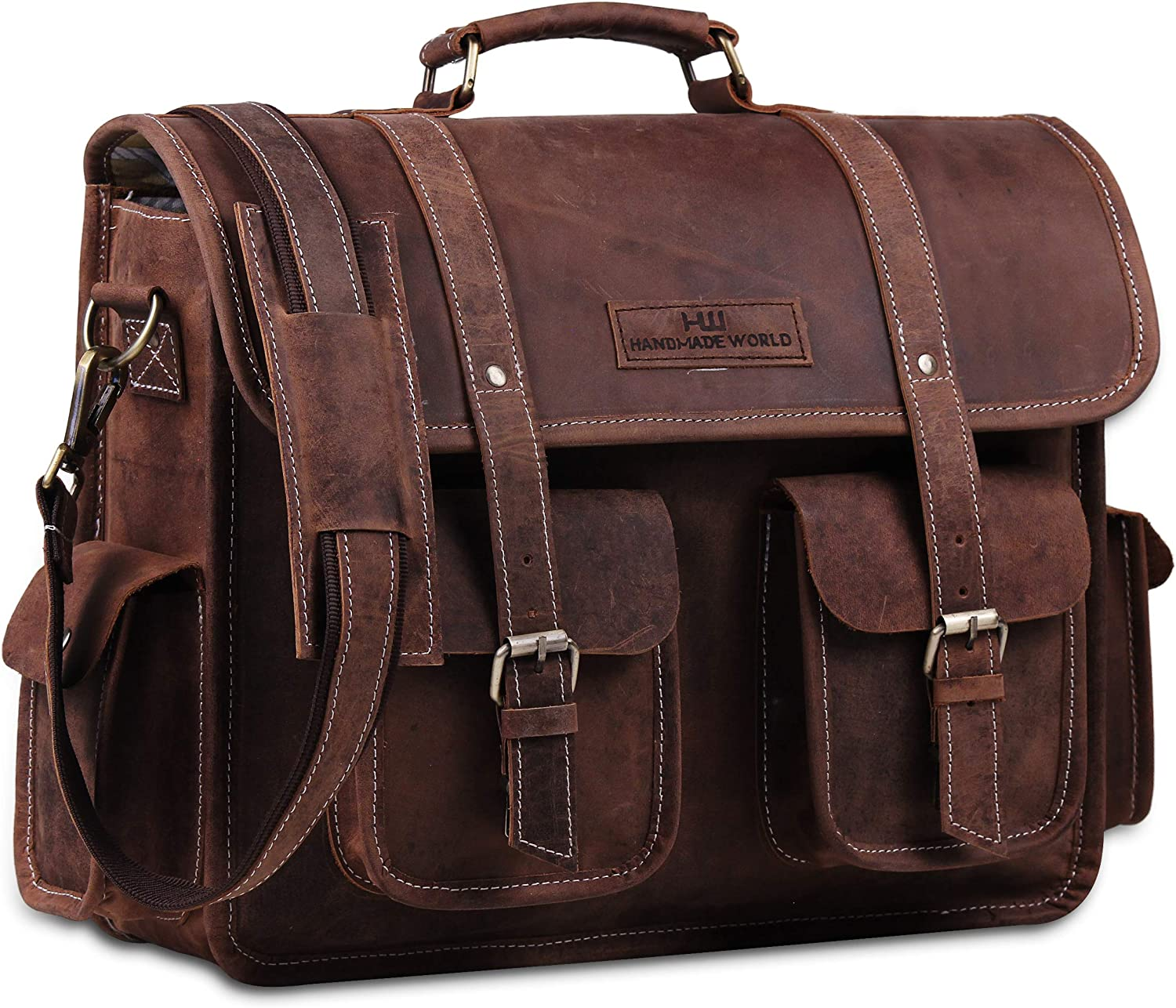 Handmade World 16 Ranking Spasm price TOP18 Inch Buffalo Office Messenger Bag Leather For