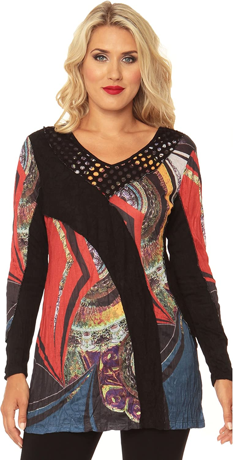 326ccb9f1d4 Lior Luxe Women's Red and Black Lace and Mesh Patchwork Print Long Sleeve  Vneck Tunic.