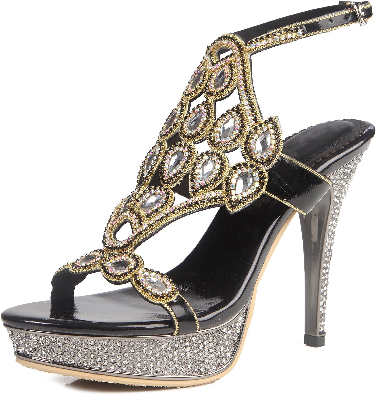 Honeystore Women's Rhinestones Platform Pumps Stiletto Heels Slingback Sandals shoes