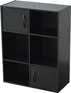 Alsapan 11 478159 - Mobiletto portaoggetti Compo a 6 vani e 2 sportelli, 61,5 x 29,5 x 80 cm, Nero
