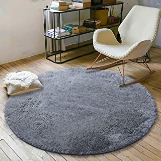 Super Soft Fluffy Nursery Rug from YOH Rugs for Bedroom Home Area Decor Round (4' Diameter,Grey)