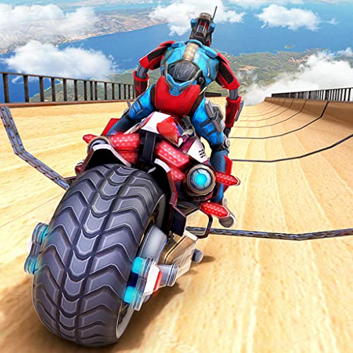 Robot Bike Rider Stuntman Adventure: Ultimative Transformation der US-Polizei Megarampe Tricky Track Bike Flying Stunts Simulator Game 2019