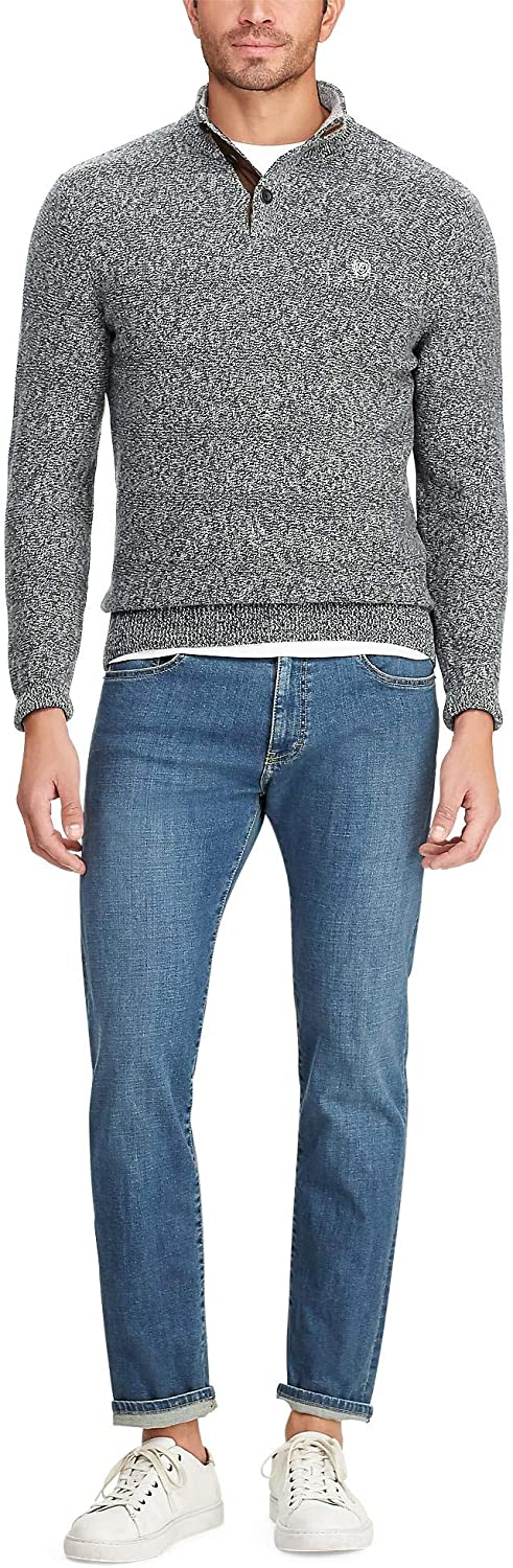 Chaps Men's Big and Tall Classic Fit Twist Button Mock Sweater