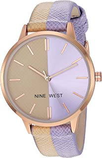 Nine West Women's Rose Gold-Tone Accented Tan and Lavender Vegan Leather Strap Watch, NW/2440TNLV