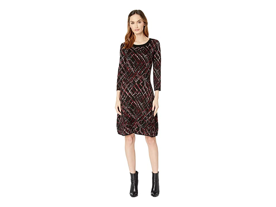 Taylor Printed Fit and Flare Sweater Dress (Black/Champagne/Cabernet) Women