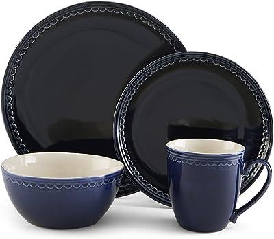 Pfaltzgraff Blue Loop 16-Piece Dinnerware Set, Service for 4