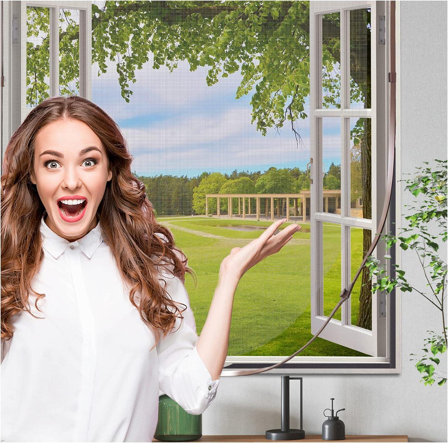 Window Screen 2021 OFFicial autumn and winter new Frame Kit Adjustable DIY Fiberglass Fireproof Mes