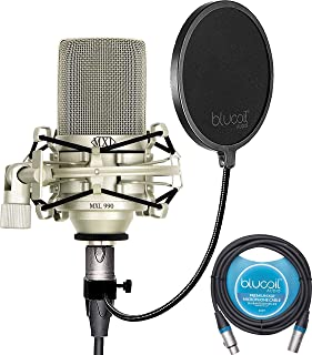 MXL 990 Cardioid Condenser Microphone for Podcasts, Voiceovers, Vocal and Acoustic Instrument Recording Bundle with Blucoil 10-FT Balanced XLR Cable, and Pop Filter Windscreen